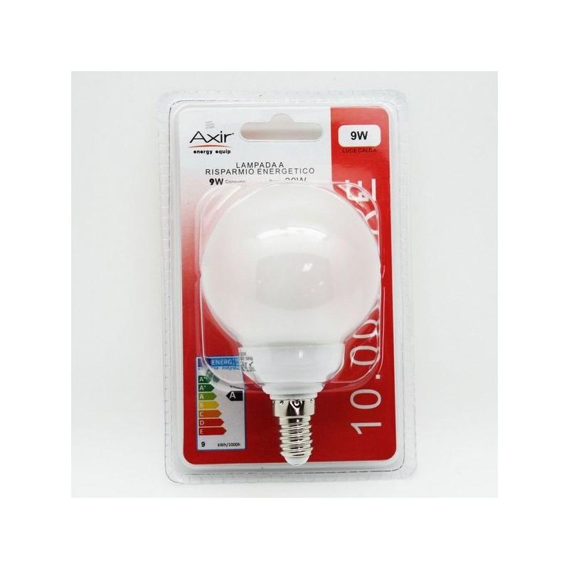 AXIR LAMPADINA RISPARMIO ENERGETICO LAMPADA GLOBO 9W E14 LUCE CALDA