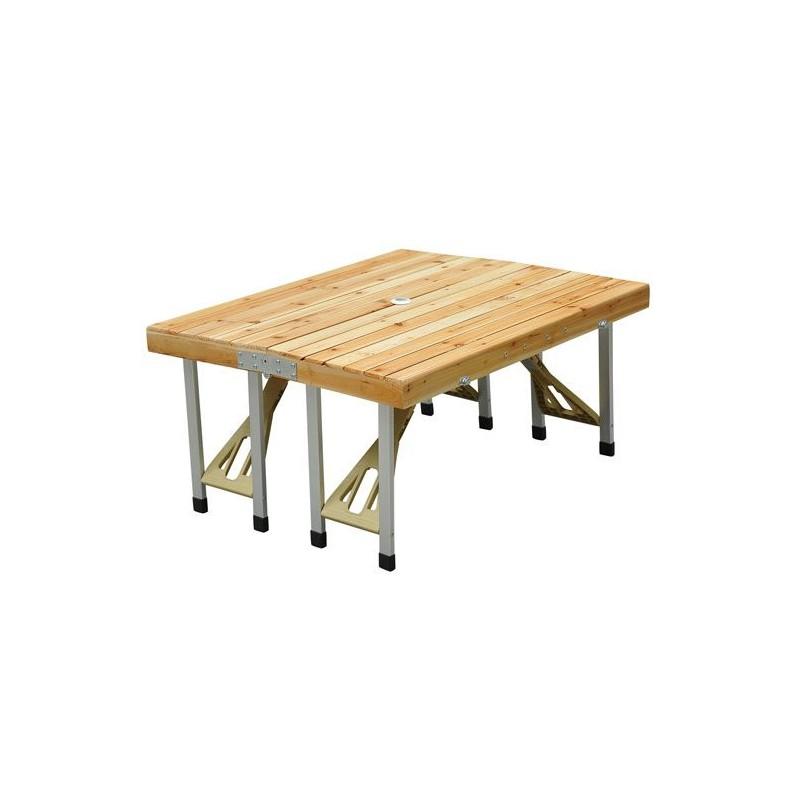 Tavolo set pic nic pieghevole con sgabelli di legno arredo for Tavolo di legno pieghevole