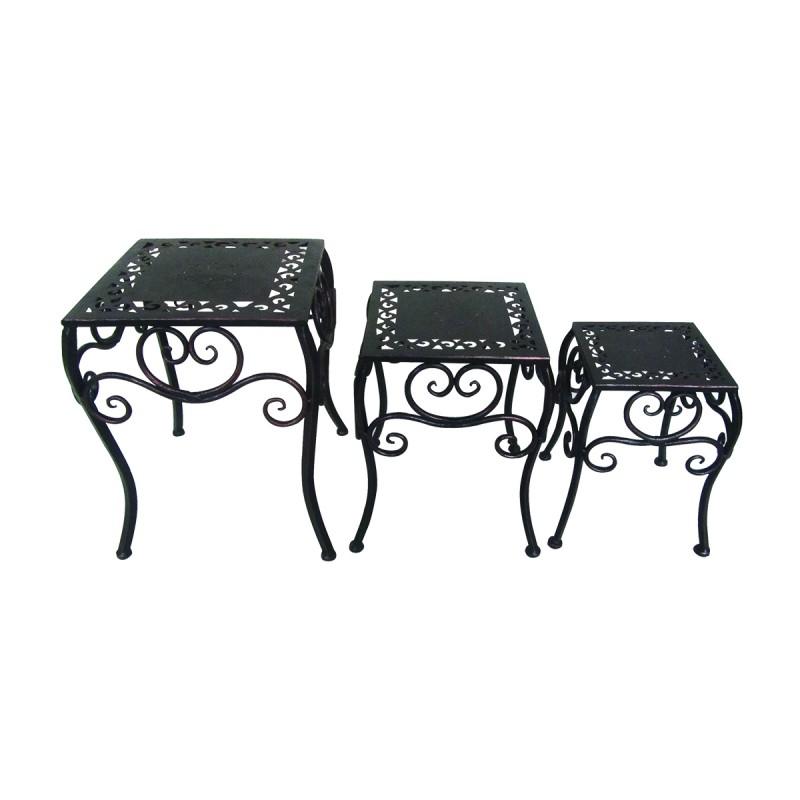 Set Da Giardino In Ferro Battuto.Set 3 Tavolini Da Giardino In Ferro Battuto Md Webstore